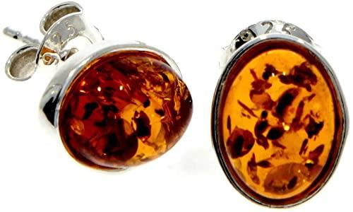 Cognac M637C - Orecchini a perno in argento sterling 925 con baltica