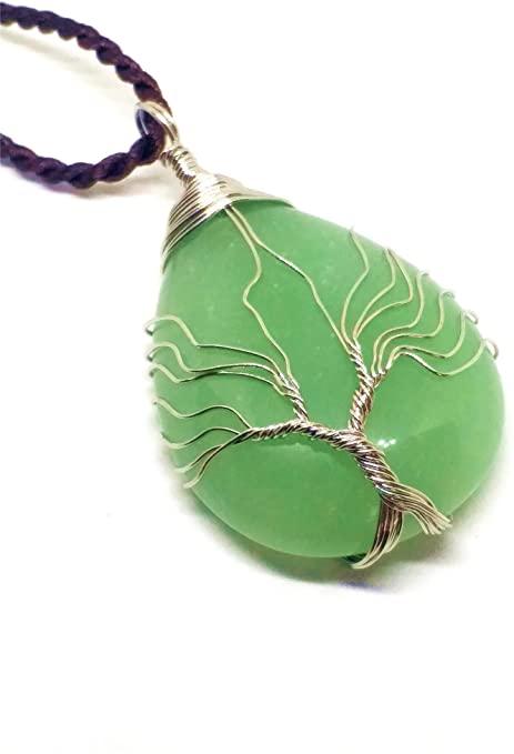 Collana con ciondolo a forma di albero della vita, pietra preziosa naturale giada verde