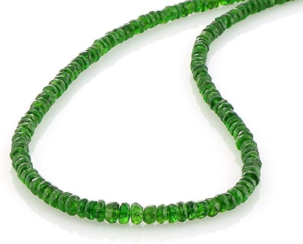 Collana in argento Sterling con ciondolo a forma di diopside cromato, splendida ed elegante, con pietra verde, regolabile