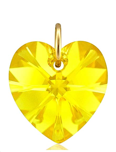 Collana in oro giallo 9 ct con pietra portafortuna a forma di cuore in cristallo Swarovski, con catenina