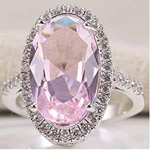 Dorime Modo delle Signore Size Gioielli in Argento 925 del Taglio di Ovale di Colore Rosa Wedding Ring 6-10 (8)