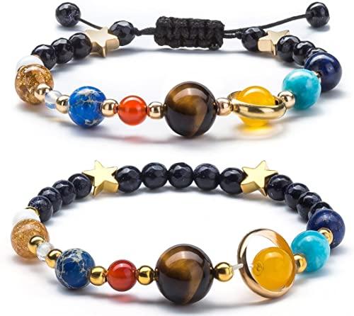 Fesciory donne sistema solare universo pianeti Galaxy le otto Guardian stella braccialetto di perle in pietra naturale braccialetto per uomo