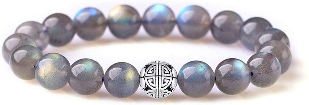 Gemme naturali 8mm MetJakt Healing Crystal braccialetto di perline elasticizzato con pendente in argento 925 doppia felicità