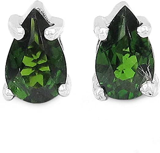 Gioielli Schmidt-Verde cromo diopside orecchini rara goccia - Argento 925 - rodiato 0,46 carati