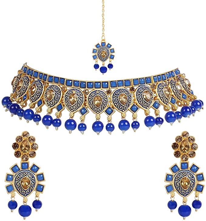 I Jewels (M4116Bl) - Collana tradizionale con perle kunzite con orecchini e Maang Tikka da donna