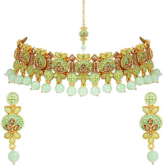 I Jewels (M4122Min) - Collana tradizionale con perle kunzite e orecchini Maang Tikka placcati in oro