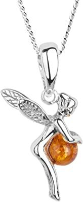 InCollections - Catenina con pendente da Donna con ambra in Argento Sterling 925, 42 cm