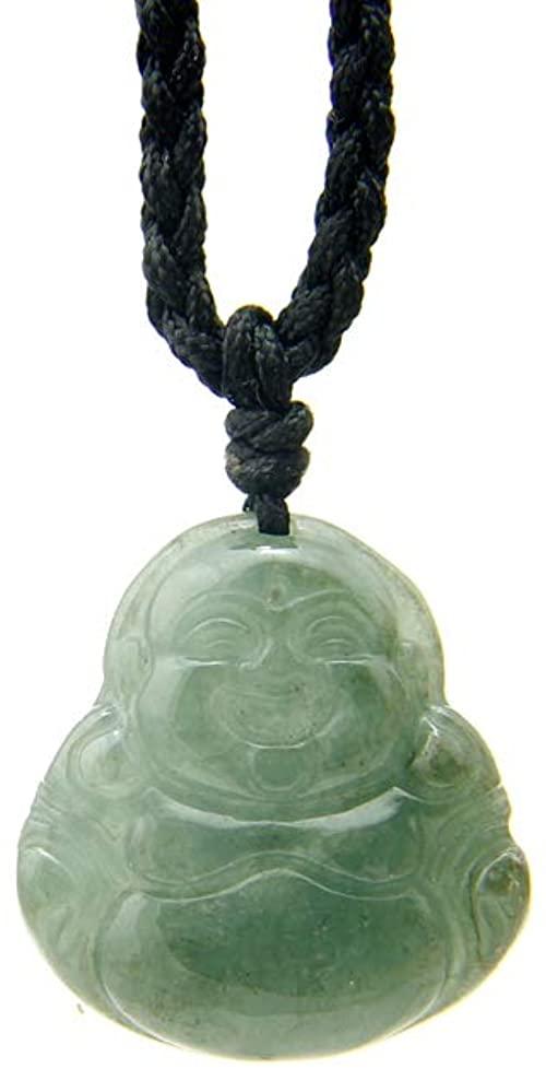 """JCA00318 - Agathe Creation - Collana in giada con Buddha sorridente, in pietra di giada naturale (categoria """"A""""), porta felicità, fatto a mano"""