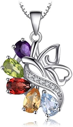 JewelryPalace Farfalla 2.4ct Naturale Ametista Granato Peridot Citrino Topazio Farfalla Ciondolo Collana con Pendente 925 Argento Sterling 45cm