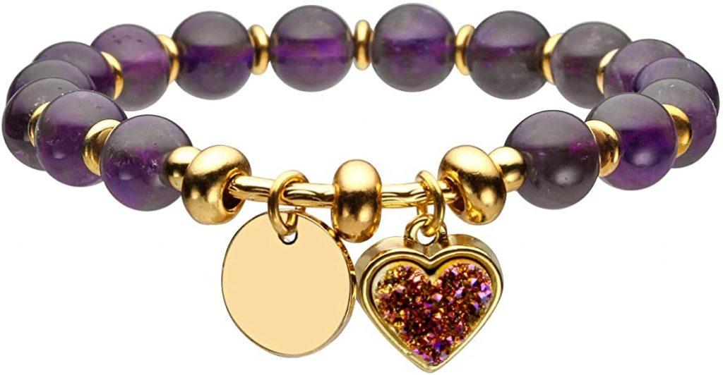 Jovivi Braccialetto Bilanciamento Cuore Chakra con Pietre Dure Naturali e Veri, Ciondolo in Metallo, Gioielli Bracciale in Perle per Donna
