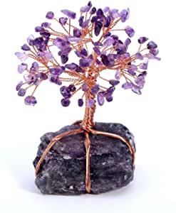 Jsdde, albero della vita con cristalli naturali, pietra preziosa per il Feng Shui (ametista)