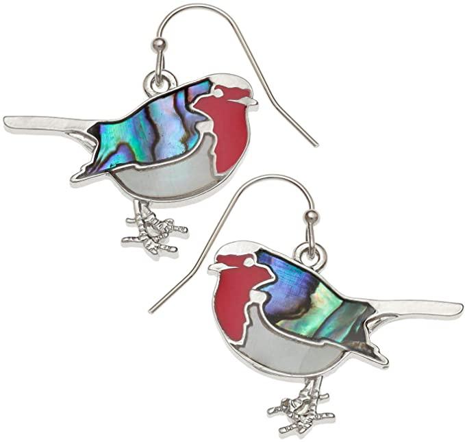 Kiara Jewellery - Orecchini a forma di pettirosso intarsiati con conchiglia di abalone di paua, madreperla e resina epossidica rossa, ipoallergenici.
