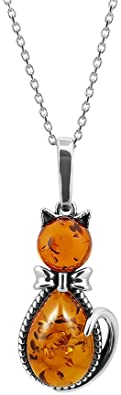 Kiara gioielli 925 sterling seduta Cat collana inserto con marrone ambra baltica su catena di lunghezza 45,7 cm, in argento Sterling Trace o.