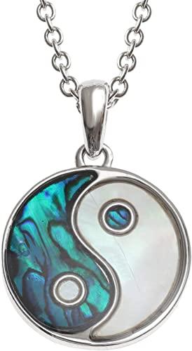 Kiara gioielli Yin Yang reversibile ciondolo collana intarsiato entrambi i lati con Bluish Green paua abalone e madreperla su 45,7 cm catena forzatina. Non si ossida colore argento rodiato.
