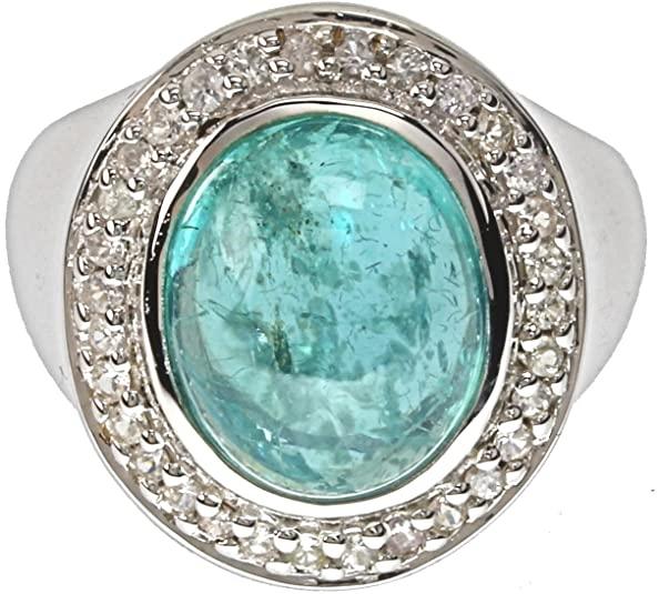 LaLuna - Anello da donna in argento Sterling 925 rodiato Apatite di Paraiba zaffiro bianco