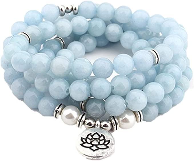 Lotus-Mala - Collana con calcedonio blu naturale