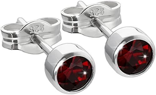 NKlaus paio di orecchini auricolari in argento 925 4,50mm granato vero granato donne uomini bambini 6660