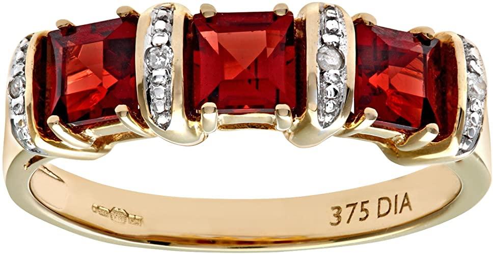 Naava Anello da Donna in Oro Giallo 9K con Granato Rosso