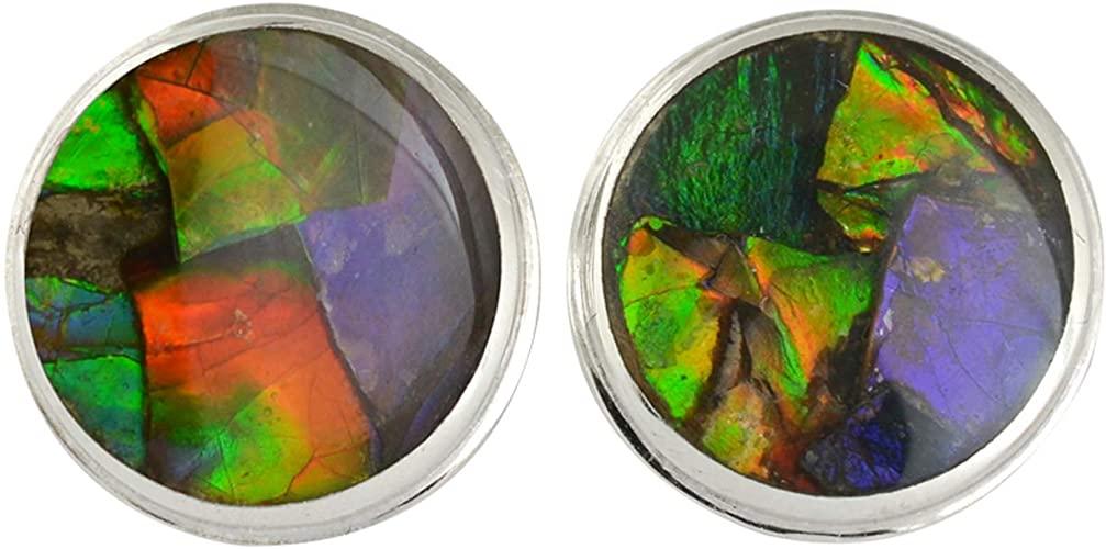 Orecchini a bottone con ammolite Starborn montatura in argento sterling 12 mm
