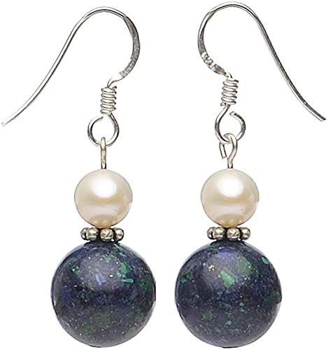 Orecchini in Azzurrite-malachite & perline{925} argento blu-verde donna
