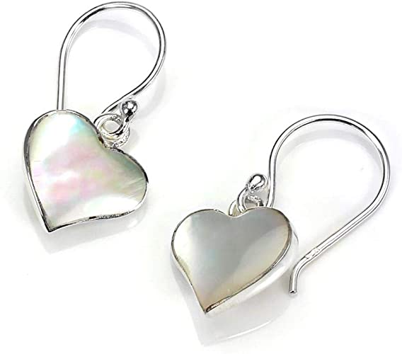 Orecchini pendenti in argento Sterling e madreperla a forma di prezioso cuoricino piatto