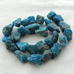 Perline semipreziose di apatite naturale grezza (verde acqua blu) – circa 11 mm – 13 mm x 15 mm – 18 mm – filo lungo circa 38,1 cm
