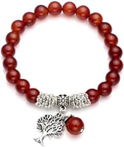 QGEM Gemma Gioielli Energie Terapia Yoga Bracciale con Ciondolo Albero della Vita 8 mm Sfera di Pietre del Buddha Bracciale Healing Balance Stretch Bracciale
