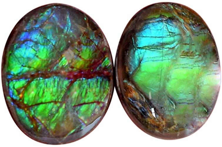 Ravishing Impressions AG-15152 - Coppia di cabochon , forma ovale, colore: Blu e verde fuoco, retro piatto, misura 15 x 12 x 4 mm, ammoliti