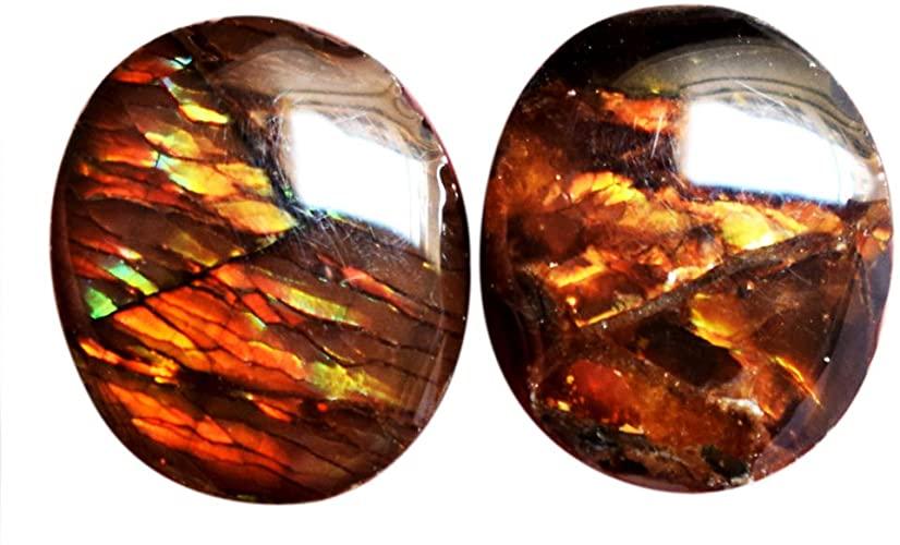 Ravishing Impressions Jewellery Ammolite coppia cabochon, gemma naturale rosso fuoco, forma ovale, dimensioni 12 x 10 x 5 mm, pietra per orecchini ammoniti, retro piatto AG-15074