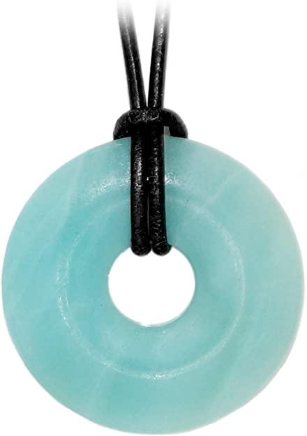 Regali Kaltner ltext-collana con ciondolo a forma di ciambella con pietre Amazzonite sul cinturino in pelle (diametro 30 mm) collana