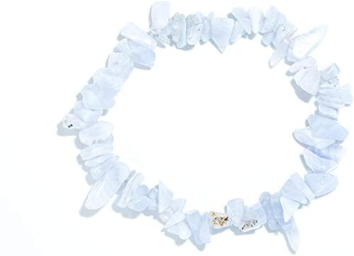 Taddart Minerals, bracciale Splitter con schegge di calcedonio grigio-bluastro, pietra preziosa naturale montata su filo di nylon elastico, bracciale fatto a mano