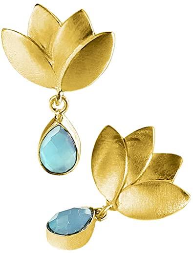 Vurmashop - Orecchini a forma di fiore di loto in oro 18 K, con pietra naturale calcedonio turchese, per donna