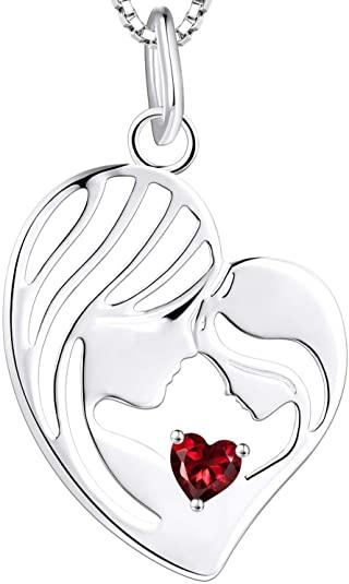 YL Collana madre e figlia Collana con ciondolo cuore in argento 925 Regali per donne mamme, 45-48 CM