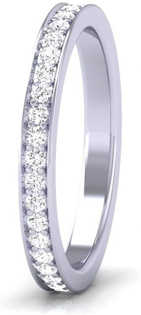 0.50 ct taglio brillante rotondo con pavé di diamanti Full Eternity anello disponibile in oro e platino