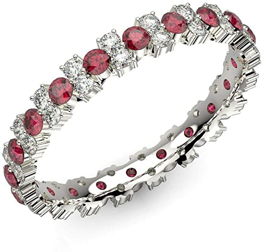 100% naturale 1,50 ct diamante taglio rubino, zaffiro e diamante Garland Full Eternity Anello in oro bianco