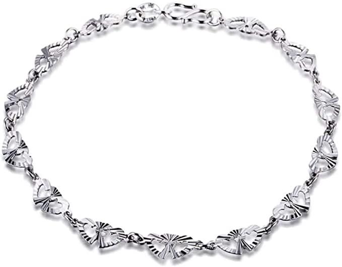 Aartoil - Bracciale da donna in platino, con doppio cuore, in argento