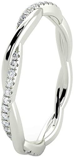 Con fascia contorta, con diamanti rotondi, in oro bianco massiccio