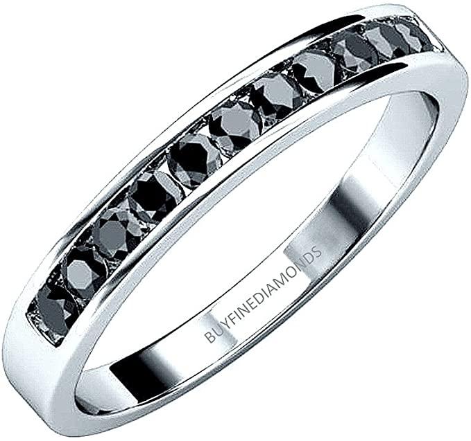 Anello Eternity in oro bianco con diamanti neri da 0,50 carati
