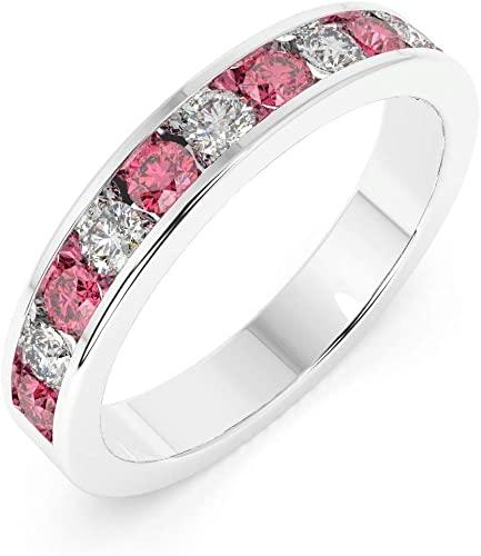 Anello Eternity in oro bianco con rubino e diamante da 3,5 mm, 0,75 carati, con pietra portafortuna del mese di luglio, in oro bianco