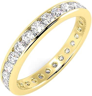 Anello Eternity in oro giallo 18k con diamanti rotondi da 1,00 ct