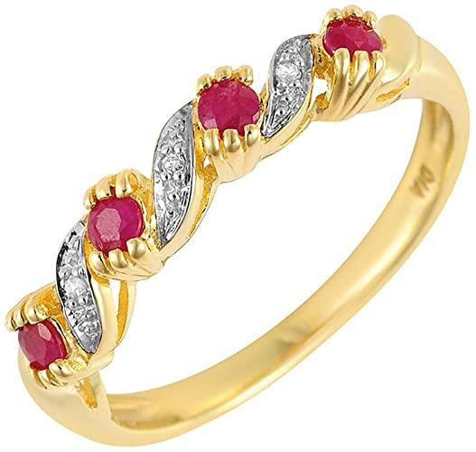 Anello da donna in oro giallo 9 k con rubino & Anello Half Eternity, con diamanti