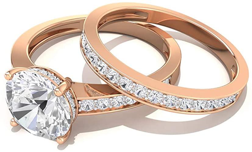 Anello di fidanzamento in moissanite da 2 ct certificato IGI, anello da sposa in moissanite GH-VS1 con pietra laterale, anello da sposa Half Eternity, 14K Oro