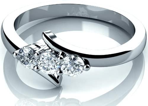 Anello di fidanzamento trilogy con diamante rotondo da 0,25 carati, realizzato in oro bianco 9 K.