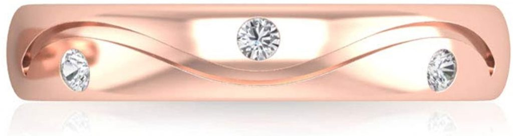 Anello di fidanzamento unico certificato IGI, anello di fidanzamento rotondo, in oro massiccio inciso, impilabile, anello per anniversario, matrimonio, ampio, eternity, 14K Oro