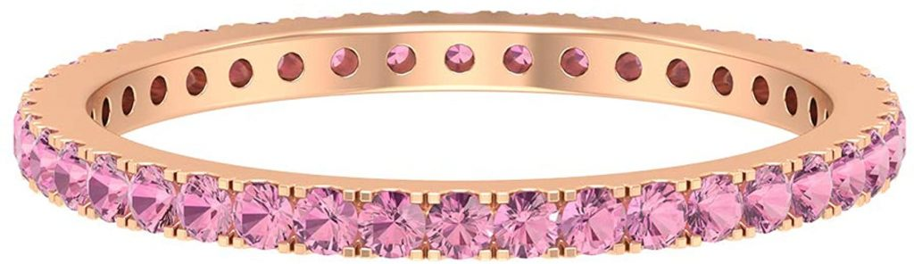 Gioiello di nozze minimalista, 0,6 ct rosa tormalina anello portafortuna ottobre, anello impilabile per damigella d'onore, regalo di anniversario per lei, oro 18 carati