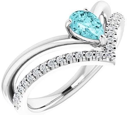 Anello in oro bianco 14K con zircone blu e diamante 1/6 ctw - Misura 7