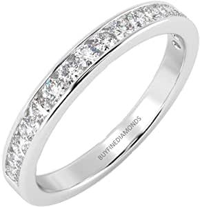 Anello in oro bianco 18k con diamante rotondo da 1/3 ct