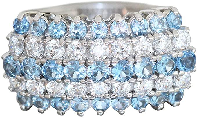 Anello in oro bianco 750 zirconi blu bianco donna 7,3 g anello in oro RW 56 Top Design Hobra Gold