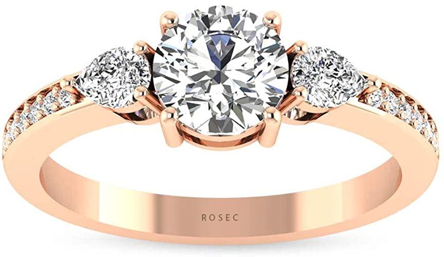 Anello in oro con diamante da 0,34 ct certificato IGI, anello rotondo a forma di pera con tre pietre, HI-SI, anello nuziale di diamanti, anello di fidanzamento, 10K Oro