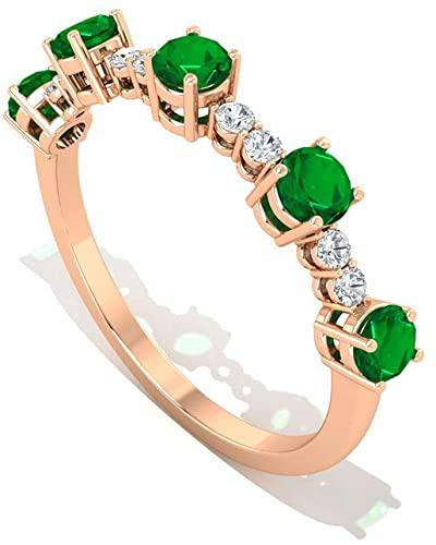 Anello nuziale con smeraldo da 0,12 ct, anello da donna certificato IGI Half Eternity, set di cestini HI-SI, colore: purezza del colore, pietra del mese di maggio, 14K Oro